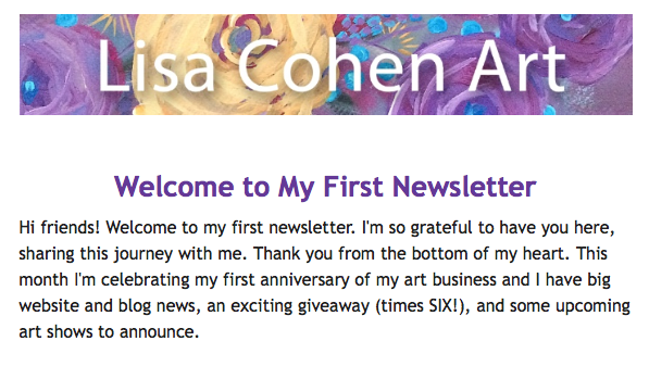 Lisa Cohen Art Newsletter #1 Snapshot
