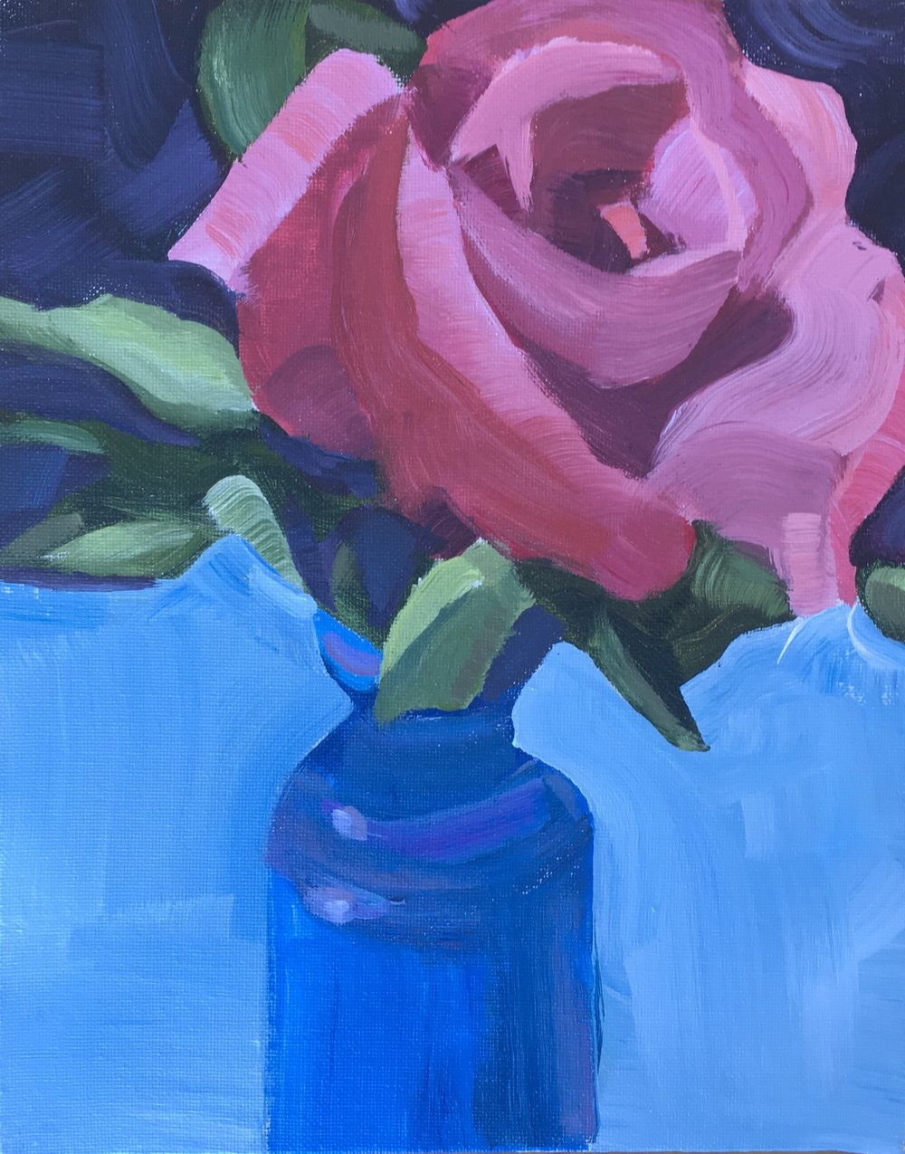 """183 Rose #1, Acrylic on 8""""x10"""" canvas panel, 45-minute painting"""