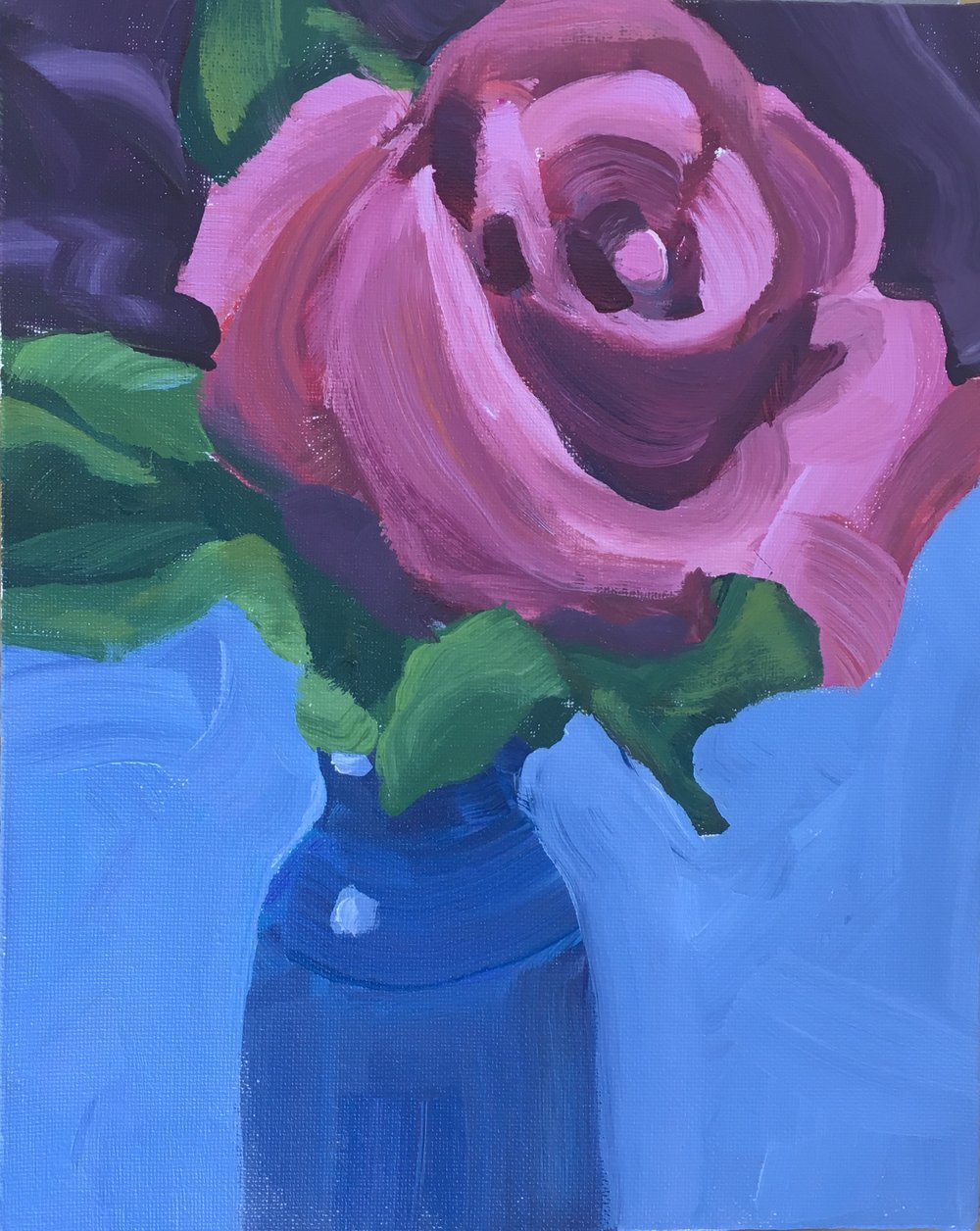 """184 Rose #2, Acrylic on 8""""x10"""" canvas panel, 30-minute painting"""