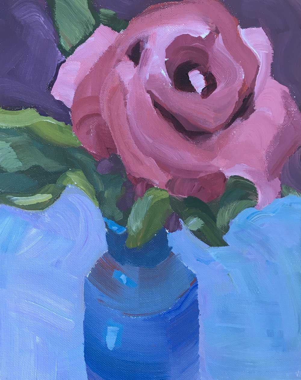"185 Rose #3, Acrylic on 8""x10"" canvas panel, 15-minute painting"