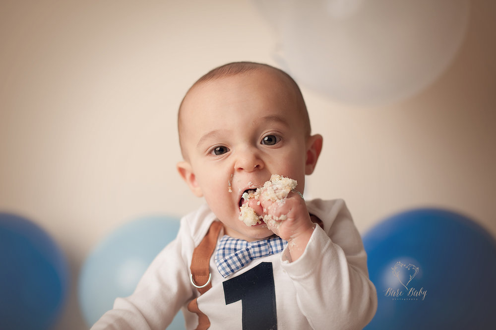 First Birthday Cake Smash Columbus Ohio Baby Photographer Bare