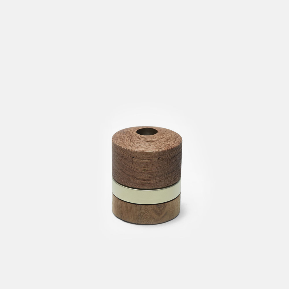 TALL CYLINDER BURNER   Wood | Satin Brass