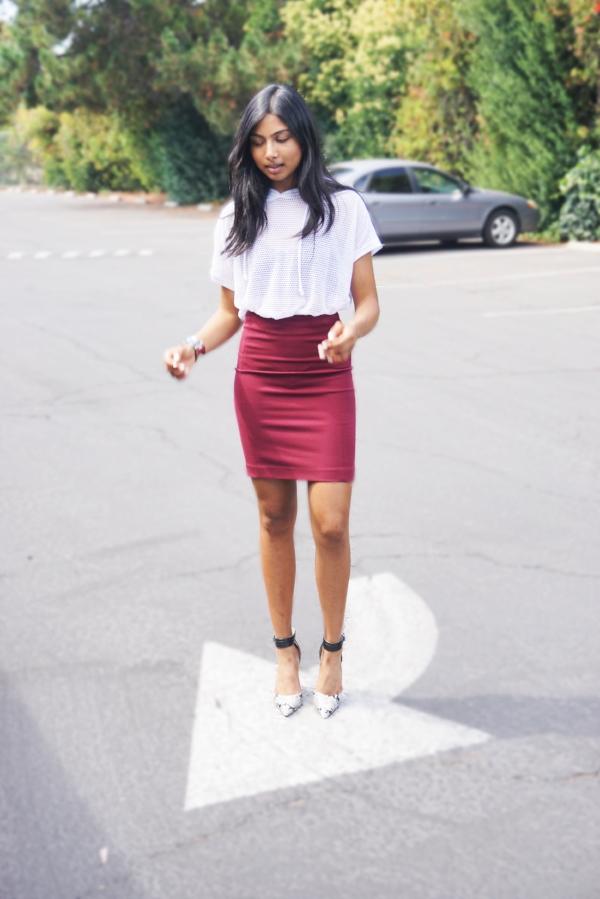 top and bracelet-Forever 21 bralette-Aerie skirt- H&M shoes- DSW