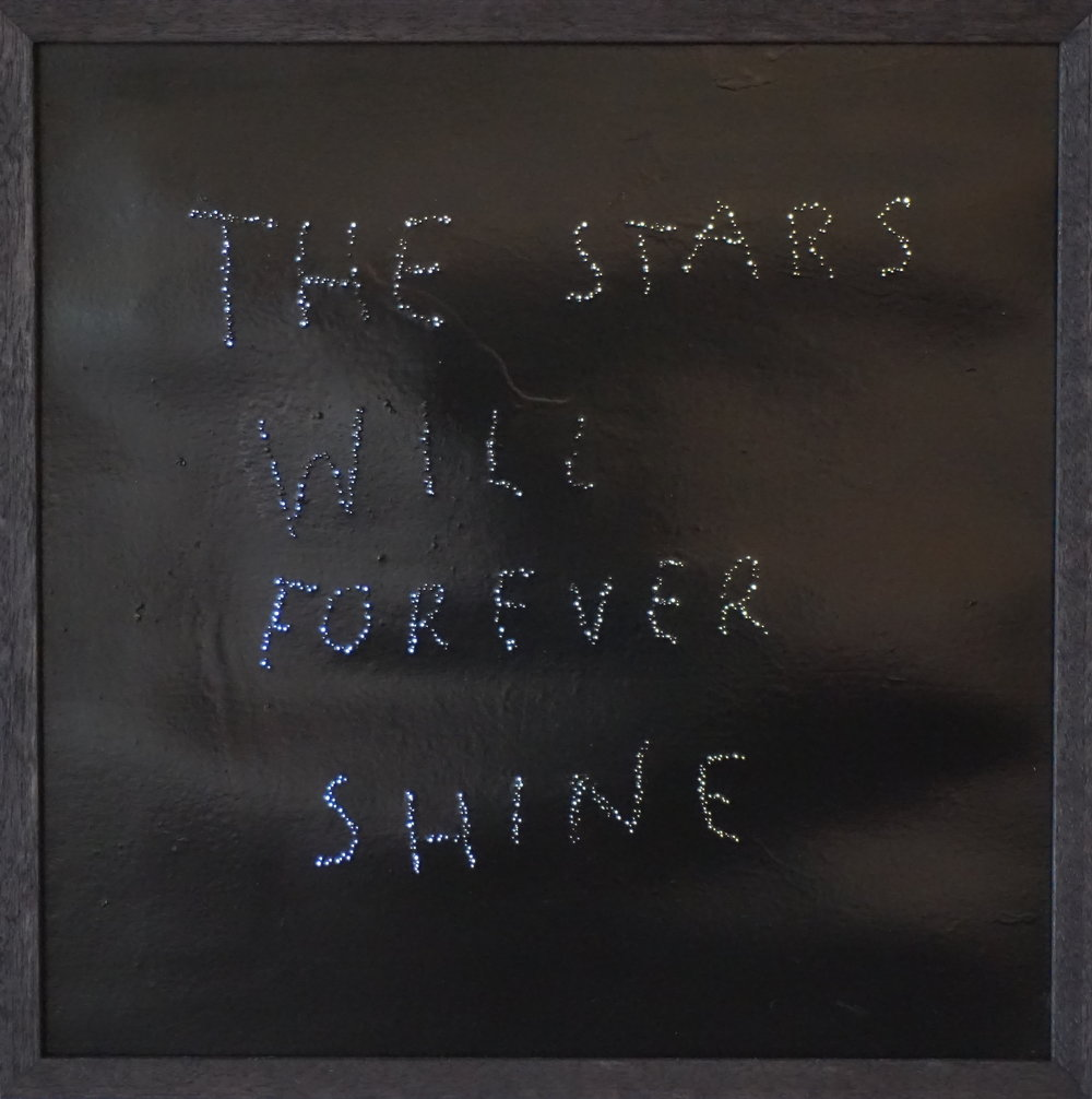 The Stars Will Forever Shine , 2015, oil on perforated paper (lightbox), 40cm x 40cm