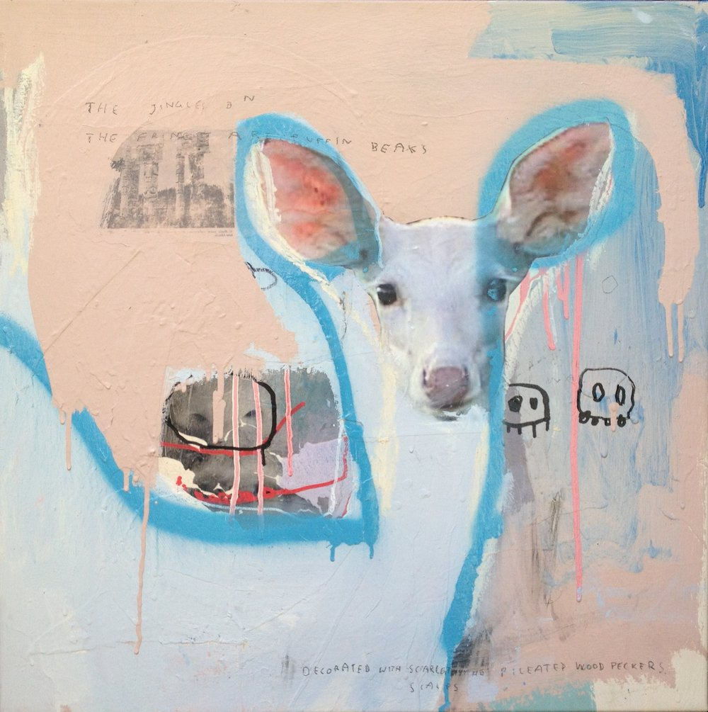 The Prize of All Prizes , 2012, acrylic, ink, pencil and collage on canvas, 66cm x 66cm