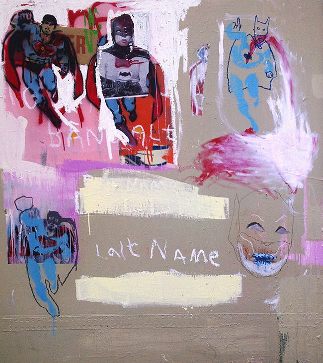First Name, Last Name , 2011, acrylic, enamel, oil, pencil and collage on board, 150cm x 140cm