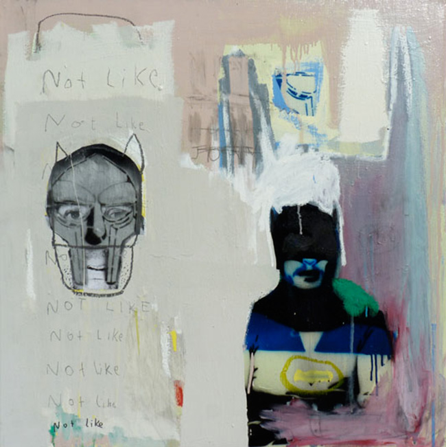 Masked Up , 2011, acrylic, oil, enamel, pencil and collage on canvas, 100cm x 100cm