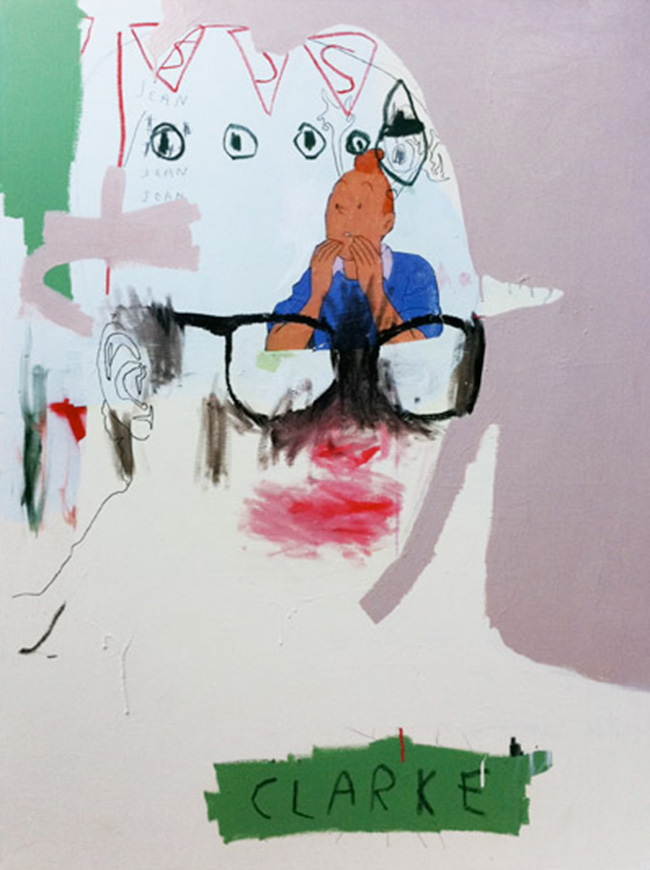 Clarke , 2011, acrylic, oil, ink and collage on canvas, 120cm x 90cm