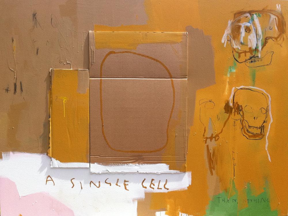 A Swollen Sun , 2013, enamel, acrylic, oil, charcoal and cardboard on canvas, 136cm x 182cm