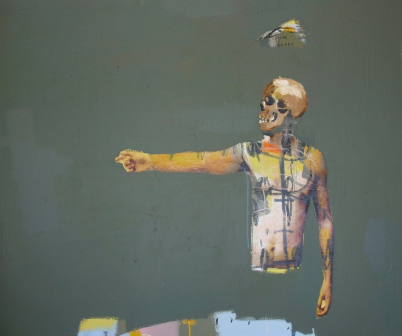 Reaching Into An Empty Void , 2014, acrylic, oil and collage on canvas, 150cm x 180cm