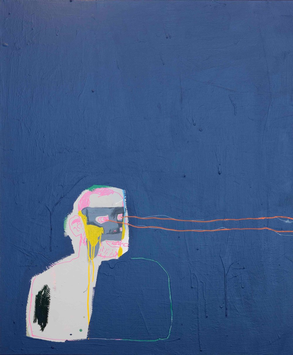 Iron Mask , 2013, acrylic, oil, ink and pencil on canvas, 100cm x 120cm