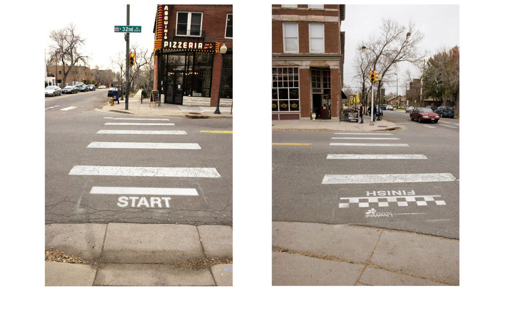 STENCIL COPY:    START / FINISH / Challenge someone to LiveWell