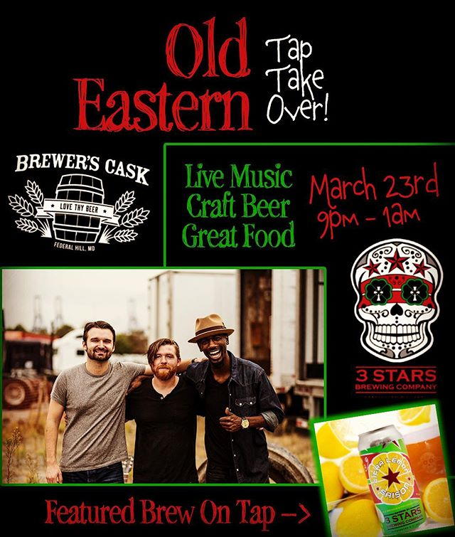 This just in!  We're partnering with @thebrewerscask and @3starsbrewing to bring you a night of brews and tunes!  Music from 9-1am.  Special Featured Brew from @3starsbrewing on tap.  All at one of the best bars in #baltimore . . .  #fuzzyd #supportlocalmusic #livemusic #craftbeer