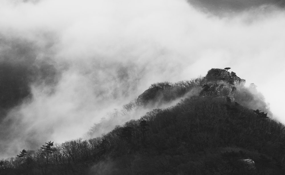 A moody black and white landscape on top of a mountain. Being an adventure and lifestyle photographer I get to travel all over the world. This was shot in South, Korea