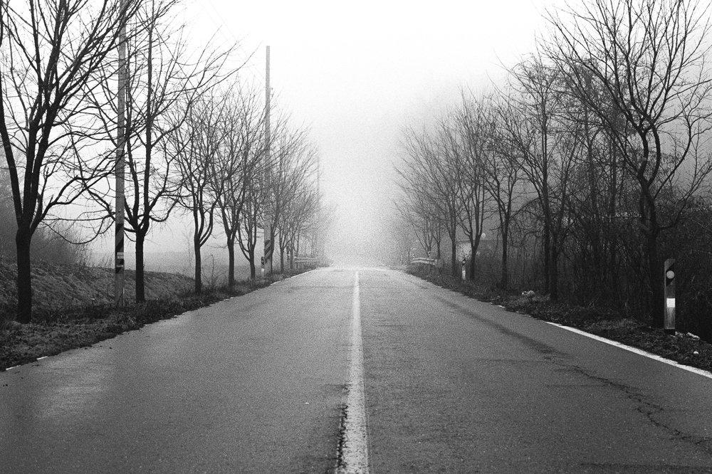The Road - analog photography shot on Kodak professional b&w film. A travel shot from South Korea.