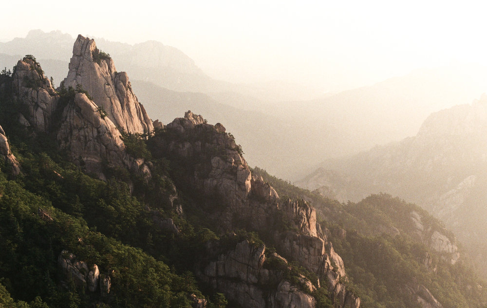 The light was gorgeous on this early morning mountain hike.  This was on top of Seoraksan in South Korea after a difficult hike the day before.