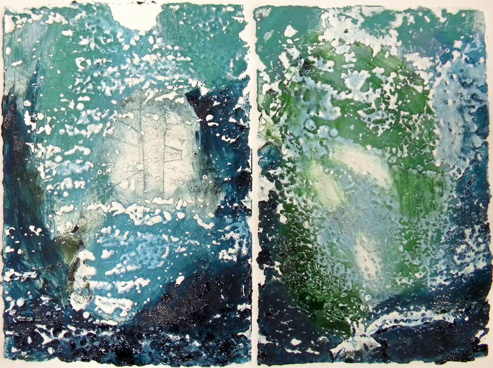 "Aquatic I, etching diptych, image 9.3x12.4"", paper 14x15"""