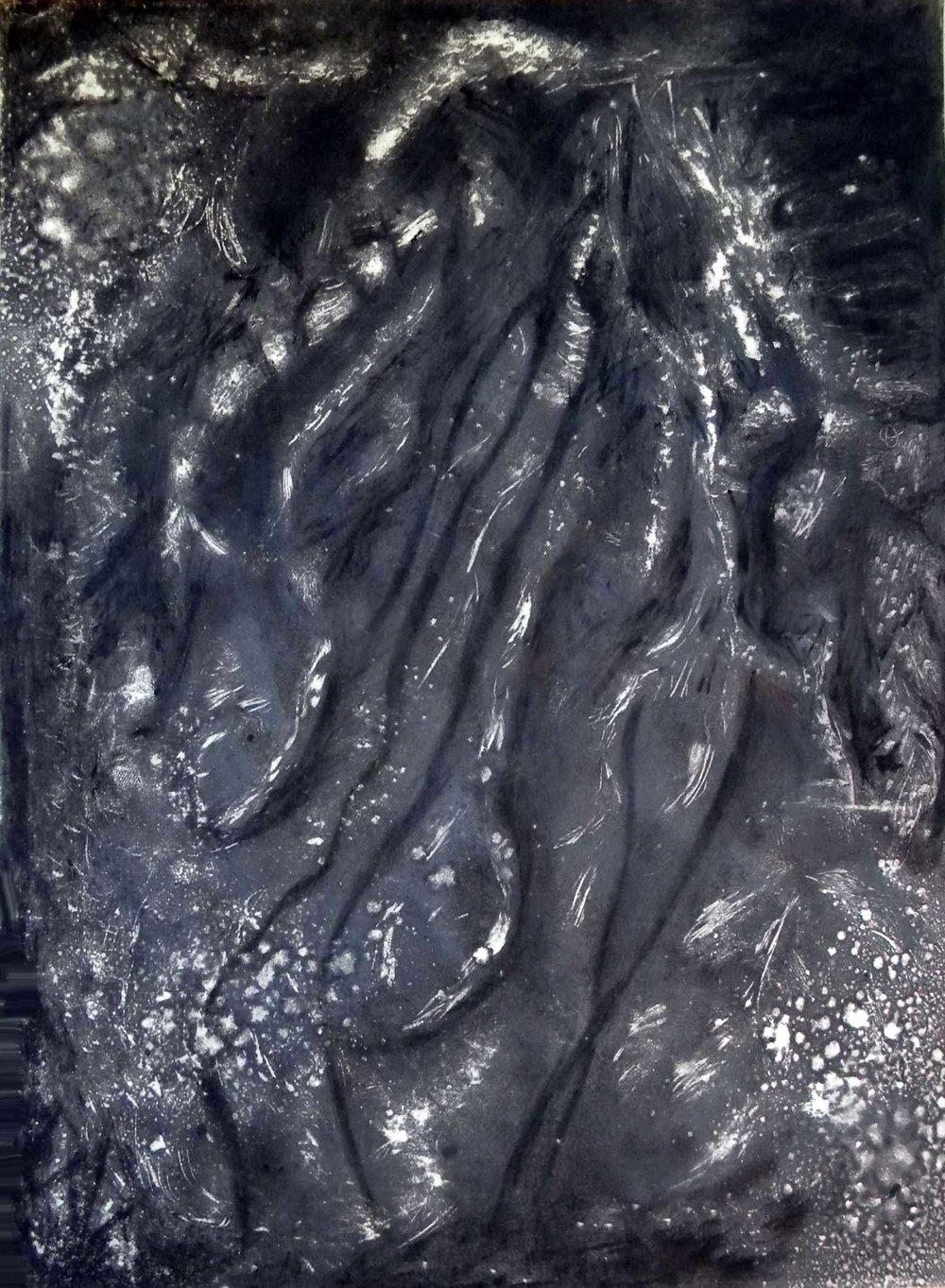 "Falling Water, monoprint, 20x15"""