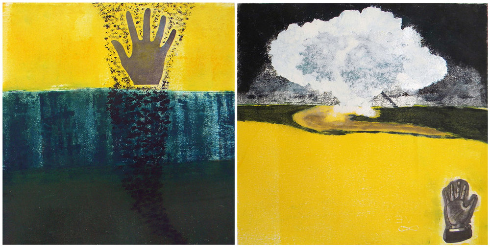 Earth Series, diptych, hand painted monoprints/ xerox transfers, 11x22""