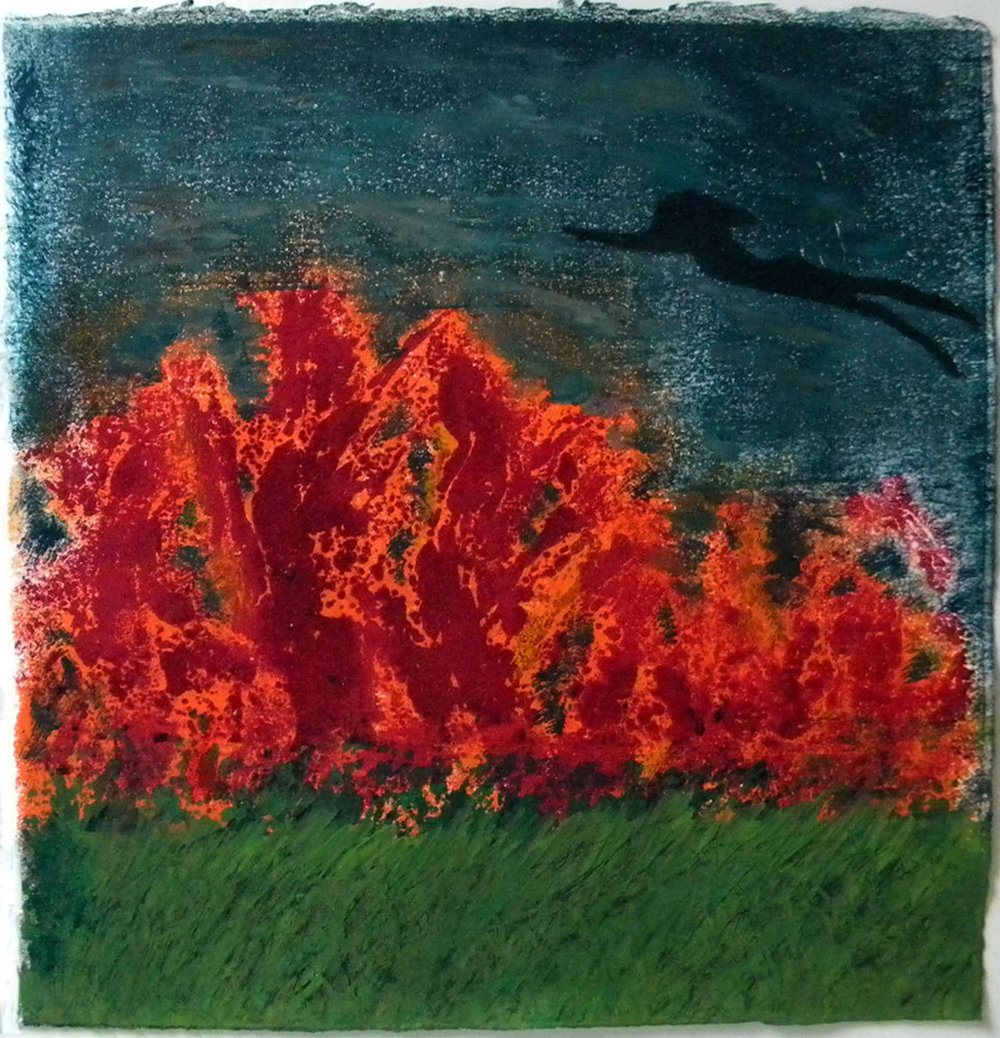Earth Series, Fire - Flying, hand painted monoprint, 11x11""