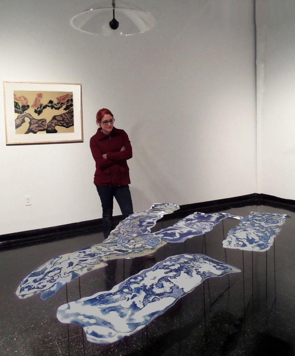 Thesis Exhibit, UMass Dartmouth, screen print + floating cyanotype sculptures