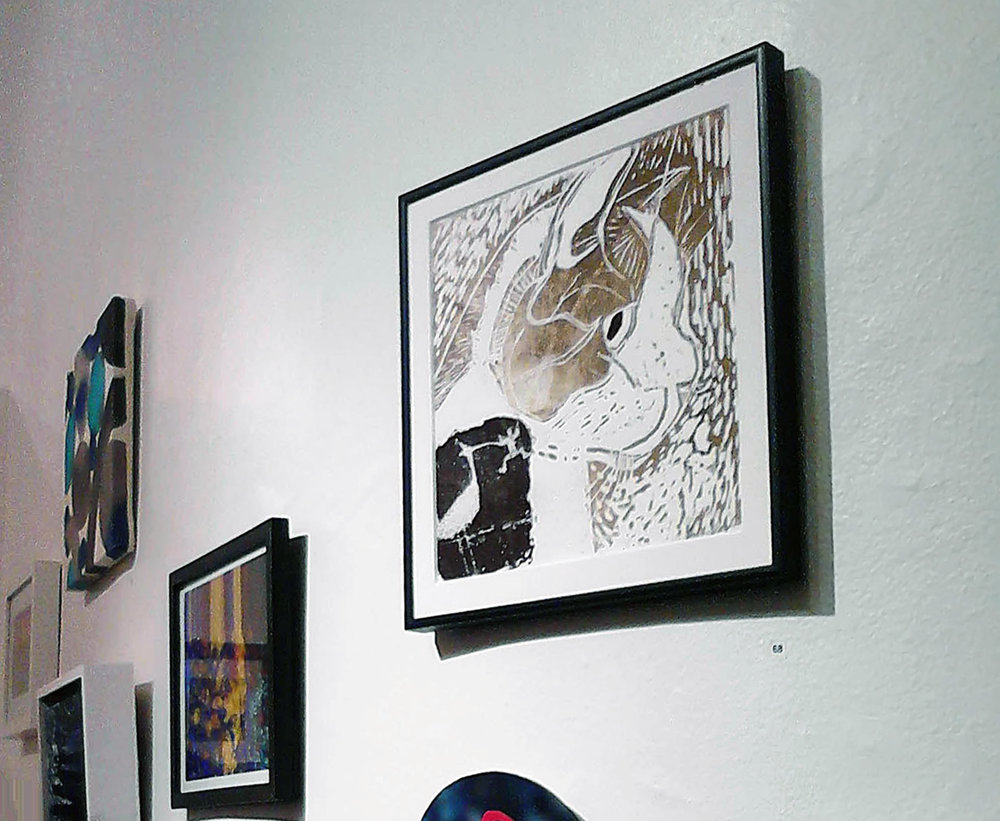 440 Gallery, Brooklyn, Cosmo's Dream, woodcut w/xerox transfer, 440 Gallery