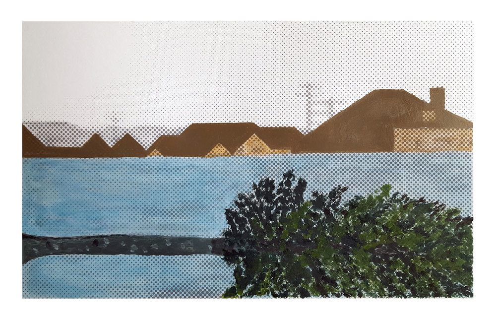 Flood Series: Buried, hand painted screen print, image 11x14.25""