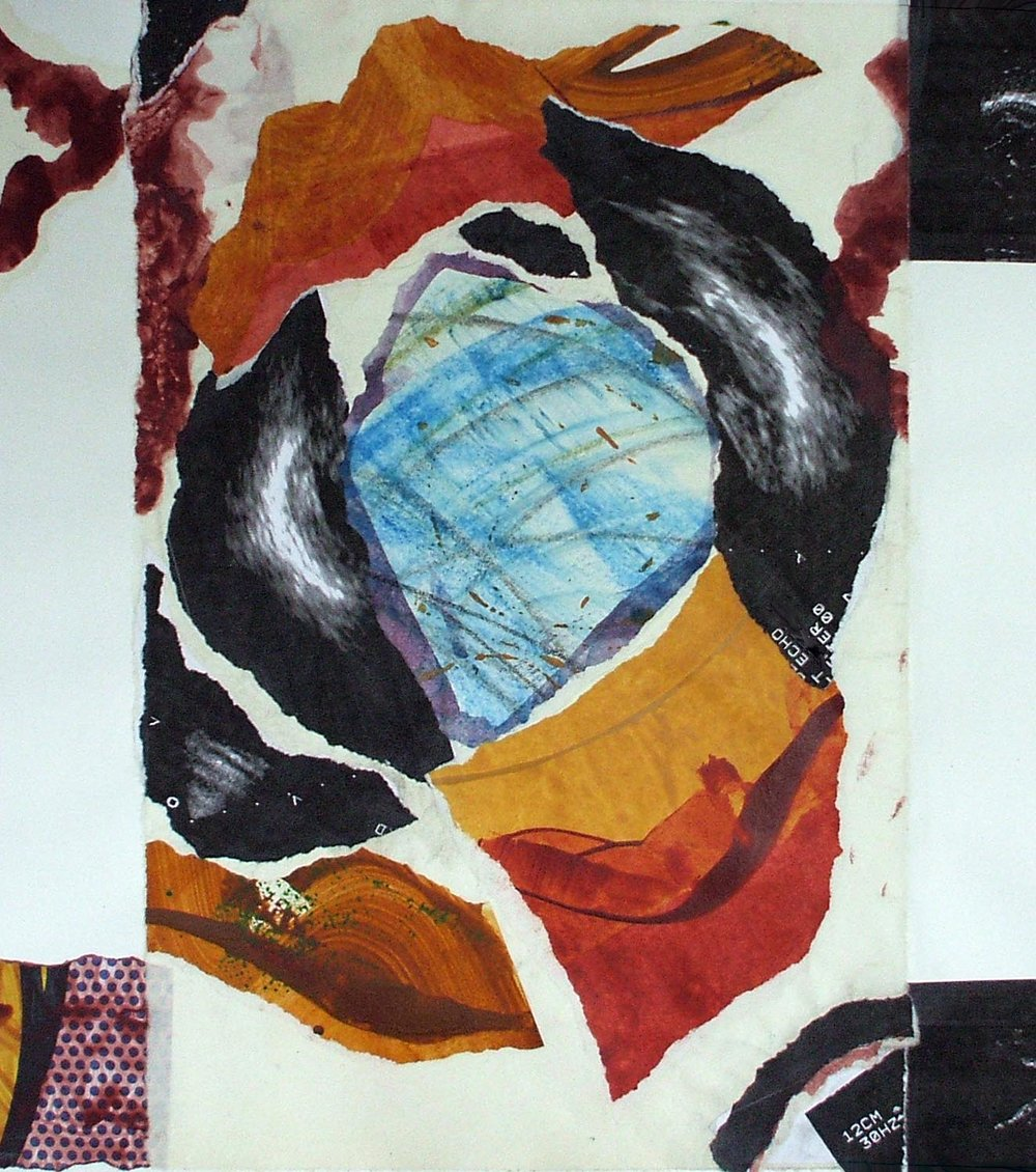 Untitled, acrylic/charcoal/printed materials, on paper