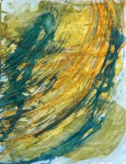 "Falls Series: yellow gold, acrylic mm/paper, 14 x 11"""