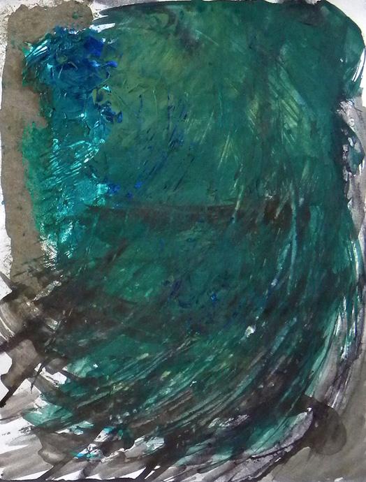 "Falls Series: green storm, acrylic mm/paper, 14 x 11"""
