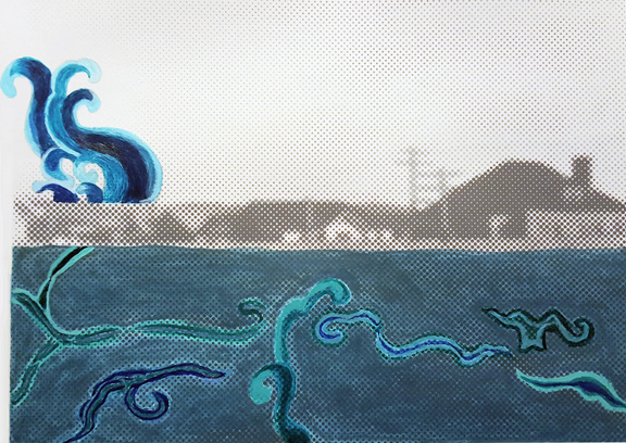 "Flood Series: Zen Waters, hand painted screen print, image 11x14.25"""