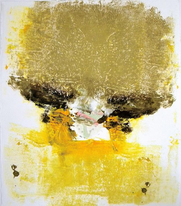 "Sun Mushroom, monotype w/iridescence, 11.75x10.25"""