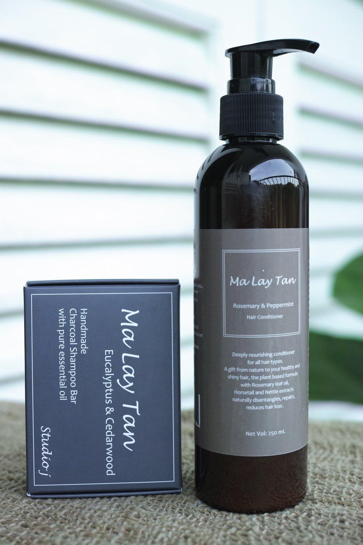 NOK 345   Set of Eucalyptus/ Cedarwood shampoo bar and Rosemar/ Peppermint conditioner.