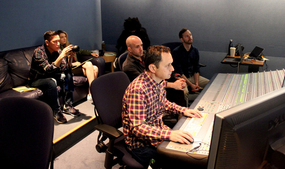 Background, from left to right: Neth, Sara, editor Leo Quert, and sound designers Mike Forst and Kevin Dusablon. In the foreground is Skywalker's re-recording mixer Steve Orlando, our new hero.