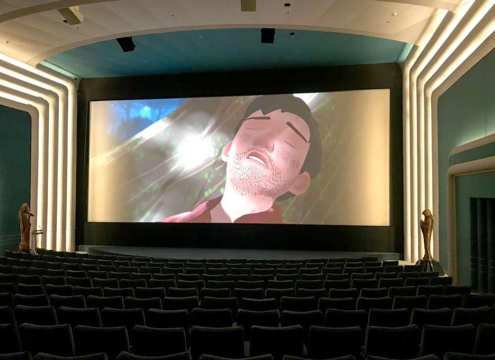 Steve was also kind enough to give us a tour of the building. Here,  Sonder  is screening in Skywalker's state-of-the-art Stag Theater. Steve mentioned that the two statues on either side of the screen were props from one of the  Star Wars  prequels. Clearly, Finn is in good company.