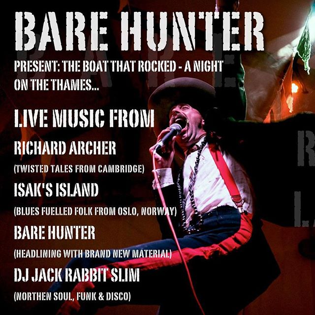 Friday 18th May we will set sail at 7pm from Festival Pier to launch our new record. Advance tickets only. #barehunter #livemusiclondon #riverthames #london #rockandroll #uniquegigs #londonbelle #festivalpier #royalweddingweekend #sexpistols #rsvp