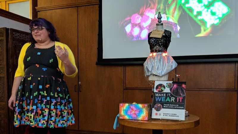 Sahrye Cohen, cofounder of Amped Atelier, leading her Make It Wear It workshop at the Mechanics' Institute in San Francisco