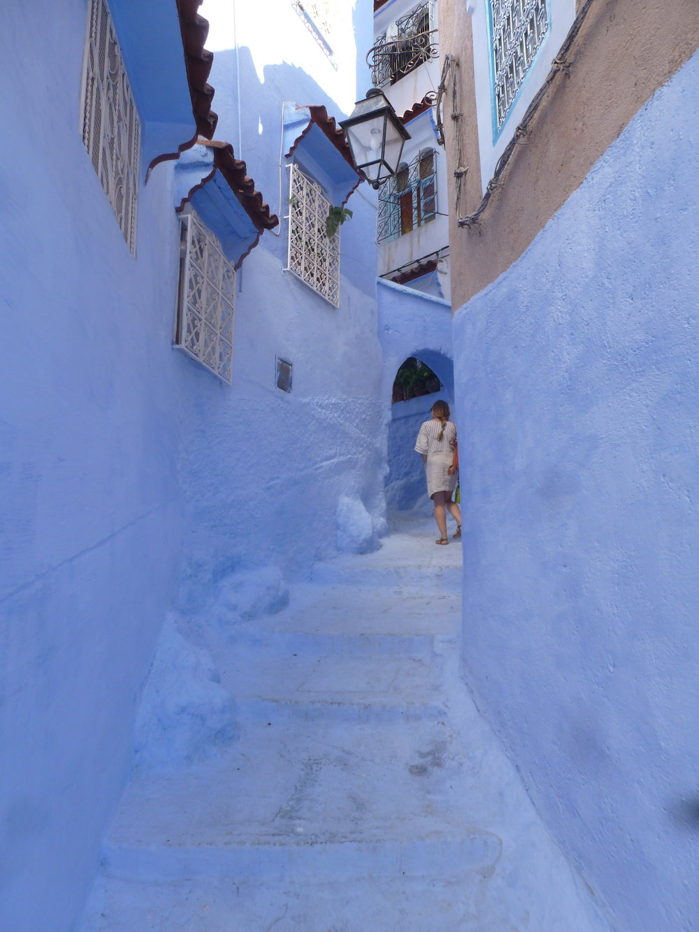 "This is me walking around in the Chefchaouen medina, or ""The Blue Pearl."""