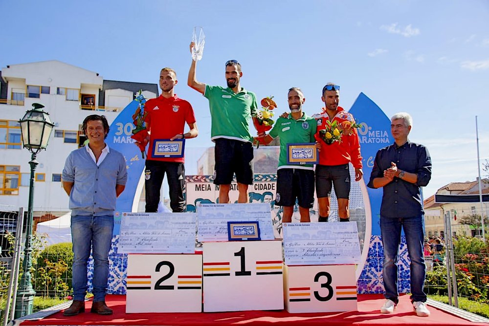 O pódio final da corrida Masculina, com Rui Pinto, Nuno Oliveira, Licinio Pimentel e Vitor Oliveira.