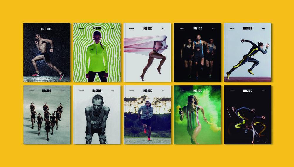 As capas das 10 edições da revista INSIDE, num conjunto de trabalhos do fotógrafo André Brito.