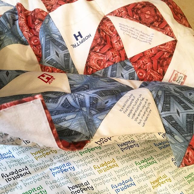Working on construction of quilt 'Pharmaceutical Security Blanket' for @theknittingandstitchingshows 🛏 🛏 🛏 #quilt #quilting #handcraft #fiber #textiles #artwork #hospital #hospitalgown #backing #sewing #embroidery #text #handstitched #blanket #ed #eatingdisorders #bedroom #installation #installationart #art