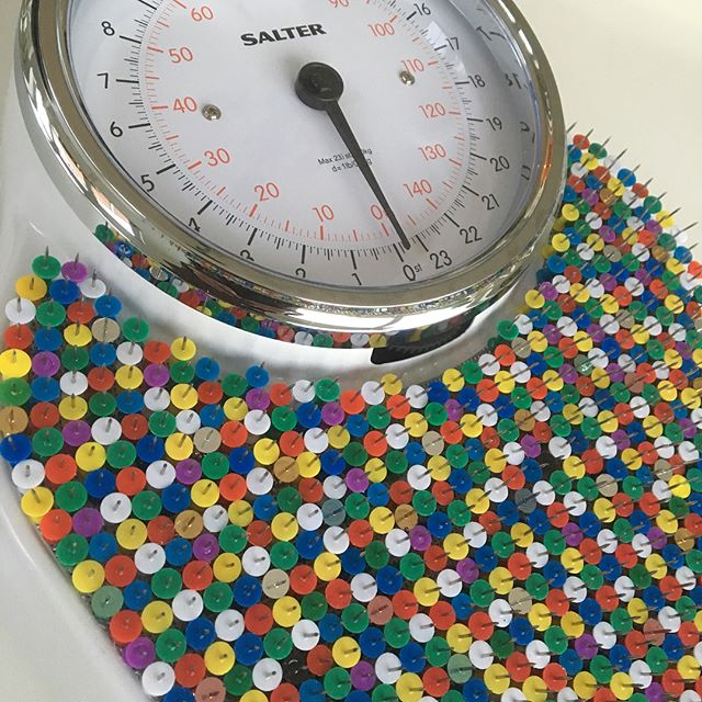 'Weighing On My Mind' - scales for K&S Gallery TG11 😳 😬 😲 #pain #weight #doctor #hospital #weighing #scales #pins #bingeeating #eatingdisorder #anorexia #bulimia #mentalhealth #diet #dieting #food #artwork #art #installation #artist #textile #exhibition #london
