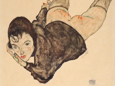 Ležící žena (Reclining Woman), 48 x 31,6 cm, akvarel a tužka na papíře, 1916. Zdroj:  Auctionata.com