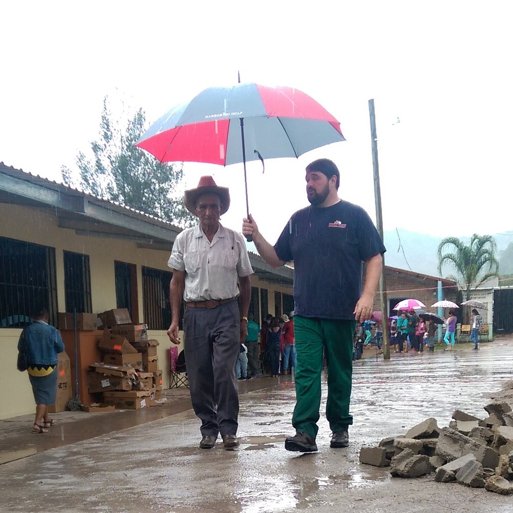 Escorting patients in the rain
