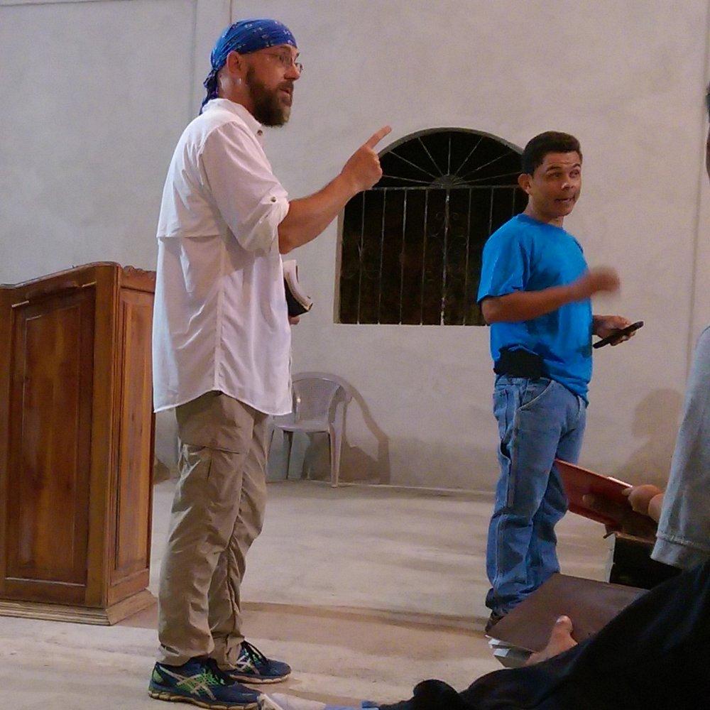 Preaching during an evening church service