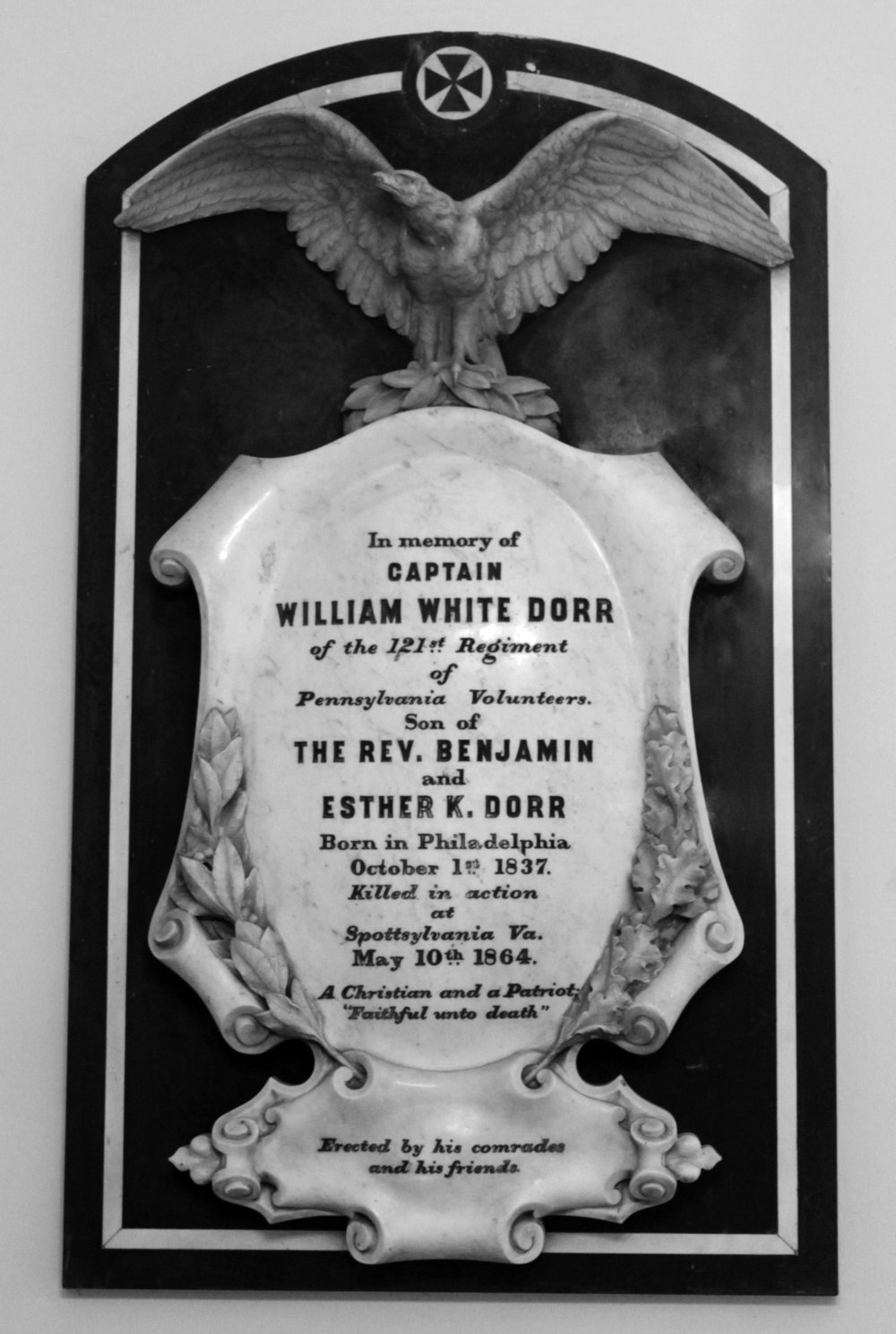 Memorial to Capt. William White Dorr.  Courtesy of Philadelphia's Christ Church. Photo by Materials Conservation Co.