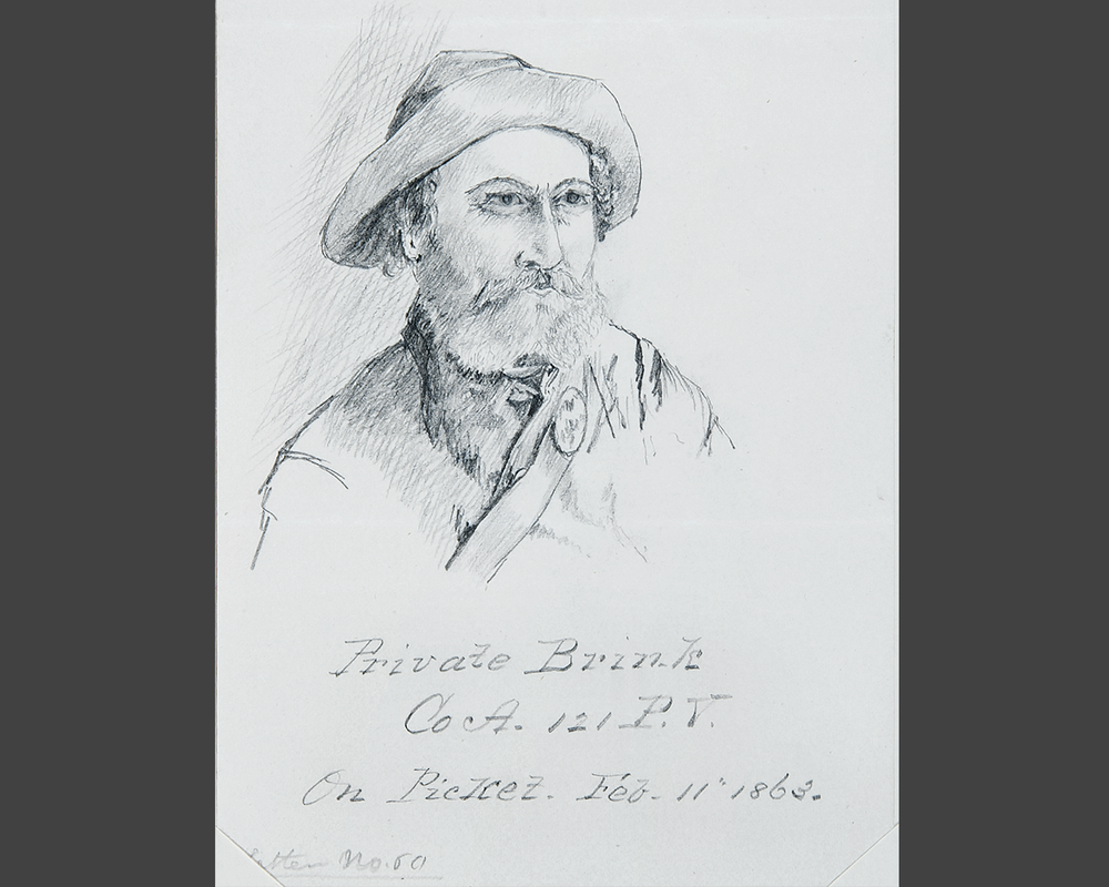 William White Dorr, sketch of Private Brink, 1863. Courtesy of the Pescosolido Library Archives, The Governor's Academy. Photo by David Oxton.