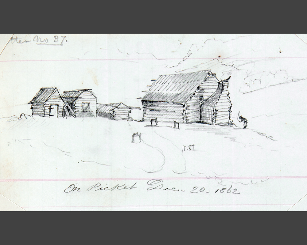 William White Dorr, sketch of slave cabin, 1862. Courtesy of the Pescosolido Library Archives, The Governor's Academy. Photo by David Oxton.