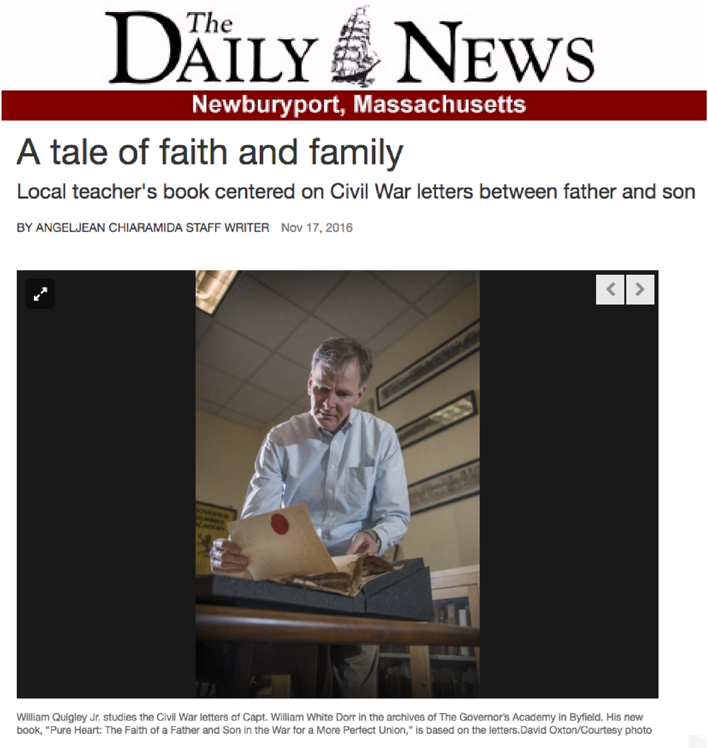 "Read:  The Daily News ' article on  PURE HEART:    ""A Tale of faith and family,""   published on November 17, 2016."
