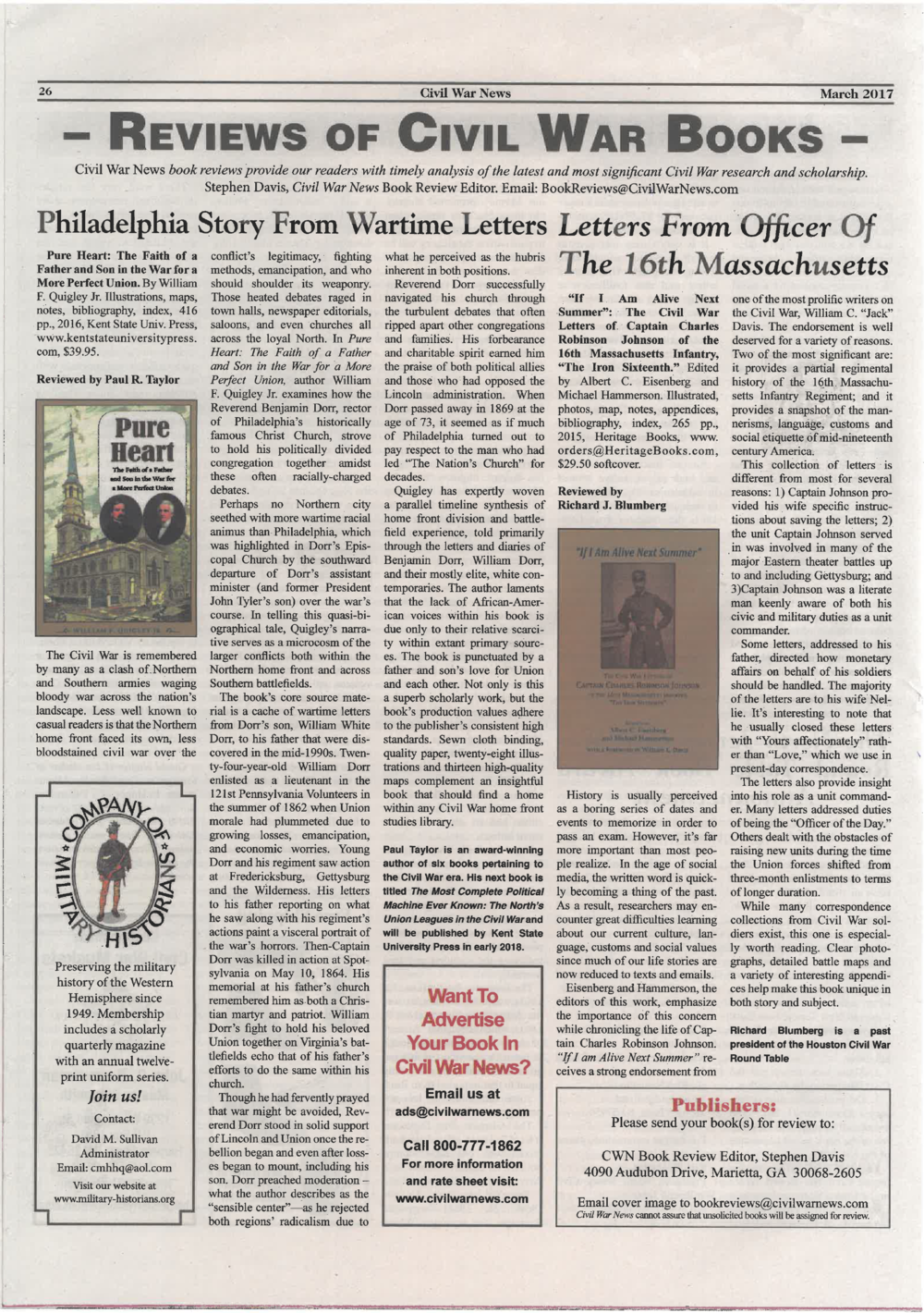 Read:  PURE HEART  reviewed in the March 2017 edition of the  Civil War News .   Click   to read the full review.